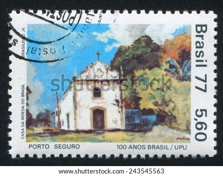 BRAZIL - CIRCA 1977: stamp printed by Brazil, shows  View Porto Seguro, Our Lady of Pena Chapel, circa 1977 - stock photo