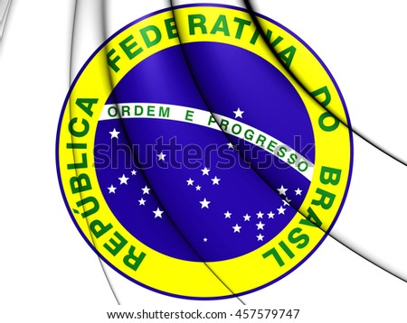 Brazil Coat of Arms. 3D Illustration. - stock photo