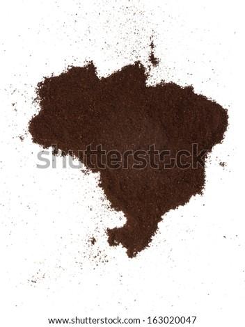 Brazil coffee map - stock photo