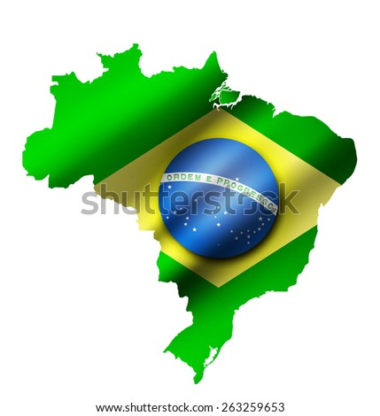 Brazil contour map with Brazil flag overlay on it. Raster version - stock photo