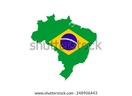 brazil country flag map shape national symbol - stock photo