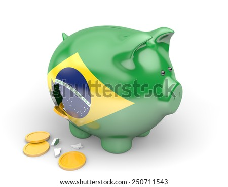 Brazil economy and finance concept for government spending and national debts - stock photo