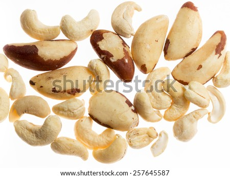Brazil end cashew nuts isolated on white background - stock photo