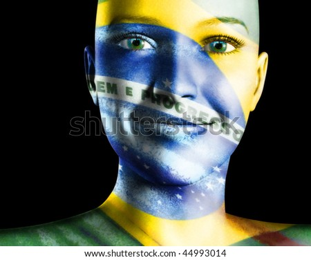Brazil Face painting sports fans - stock photo