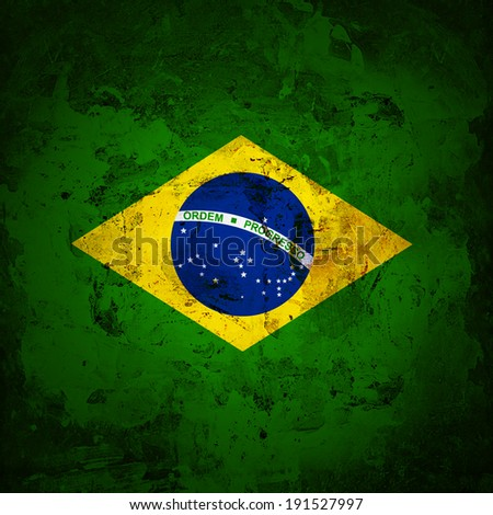 Brazil flag and wall background - stock photo