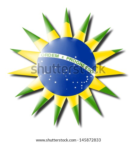 Brazil flag badge 3d - stock photo