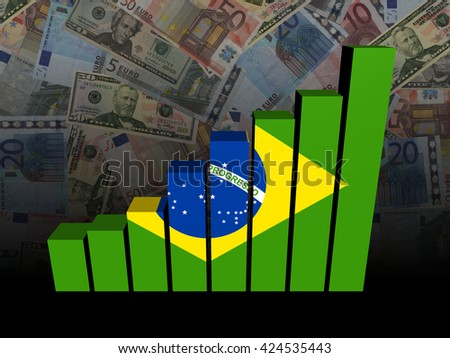 Brazil flag bar chart over Euros and Dollars 3d illustration - stock photo
