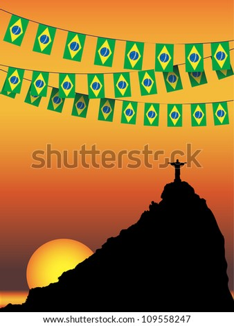 Brazil Flag bunting on Rio De Janeiro sunset background. Also available in vector format - stock photo