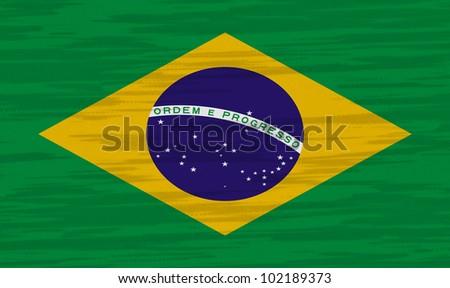 Brazil Flag cotton texture - stock photo