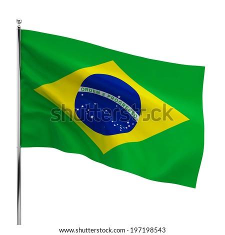 Brazil flag. 3d illustration isolated on white background - stock photo