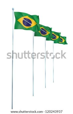 Brazil Flag Detail Render - stock photo