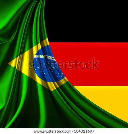 Brazil flag fabric and germany   flag background - stock photo