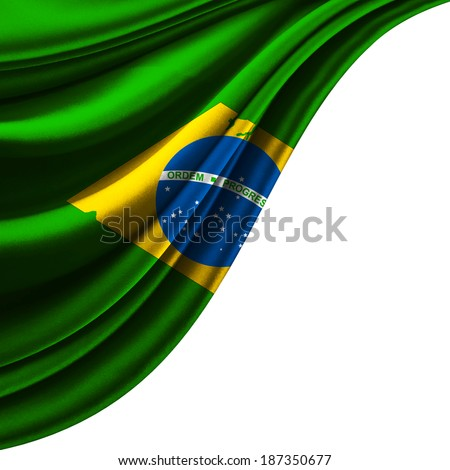 Brazil flag fabric and white background - stock photo
