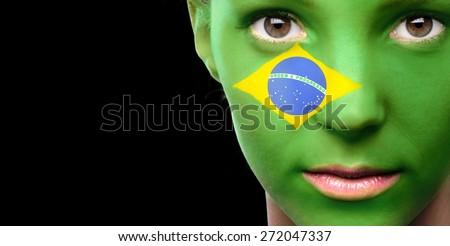 Brazil, Flag, Human Face. - stock photo