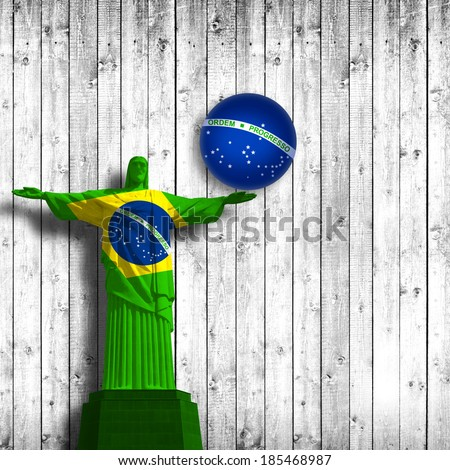 brazil flag  jesus and white wood background - stock photo