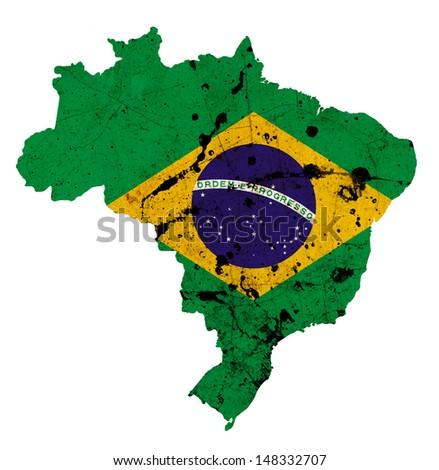 Brazil flag on map isolated on white background  - stock photo