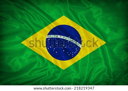 Brazil flag pattern on the fabric texture ,vintage style - stock photo