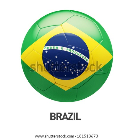 Brazil Flag Soccer Icon isolated on white background - stock photo