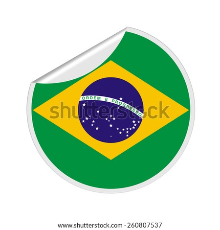 Brazil Flag Sticker - stock photo