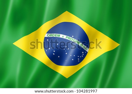 Brazil flag, three dimensional render, satin texture - stock photo