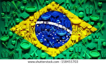 Brazil Flag with Icons - stock photo