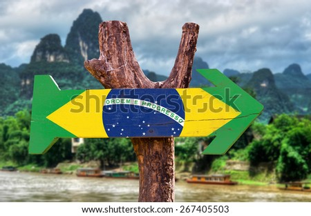 Brazil Flag wooden sign with forest background - stock photo