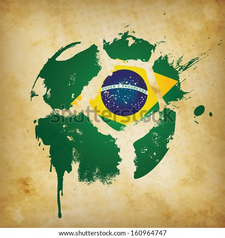 Brazil Football Template  - suitable for posters, flyers, brochures, banners, badges, wallpapers, web design, advertising, publicity and more  - stock photo