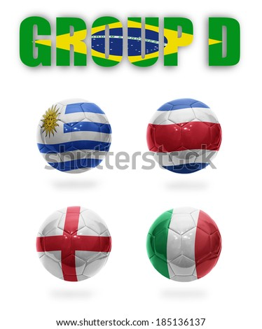 Brazil. Group D. Realistic Football balls with national flags of Uruguay, Costa Rica, England, Italy - stock photo
