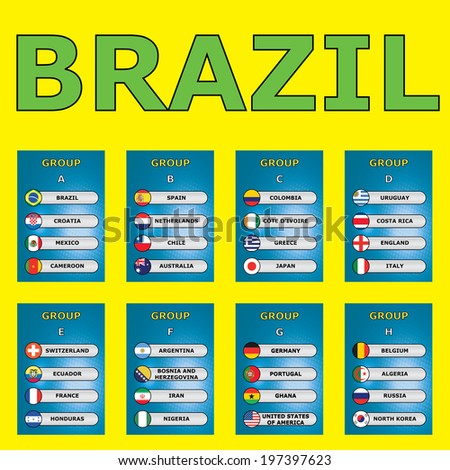 Brazil group stages vector chart - stock photo