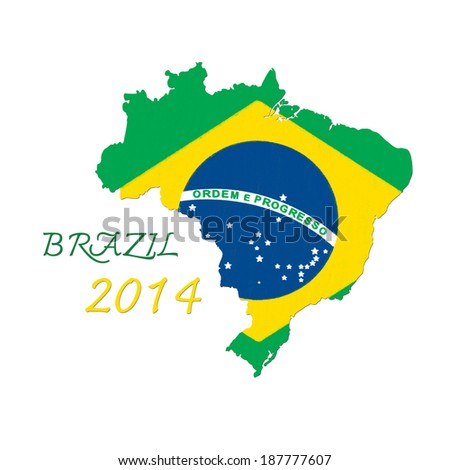 brazil map flag - stock photo