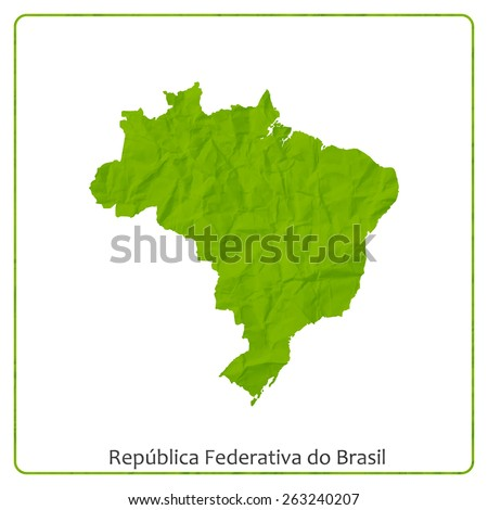 brazil map on green textured paper - stock photo