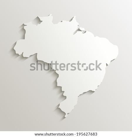 Brazil map silhouette with shadow effect. - stock photo
