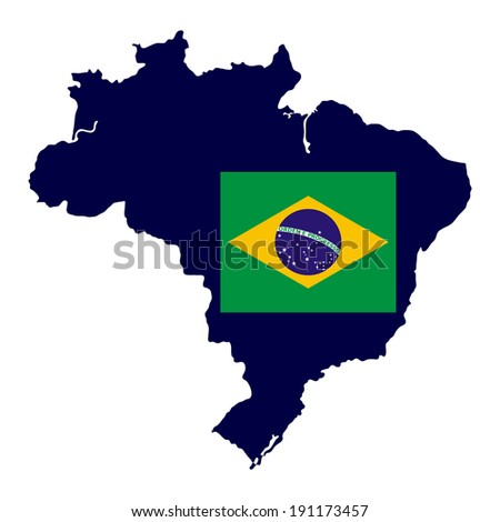 Brazil map with national flag - stock photo