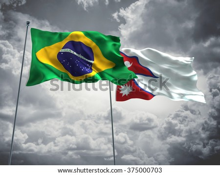 Brazil & Nepal Flags are waving in the sky with dark clouds - stock photo