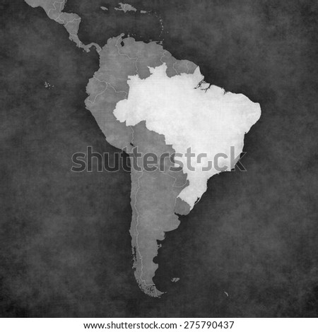 Brazil on the map of South America. The map is in vintage black and white style. The map has soft grunge and retro old paper atmosphere.  - stock photo