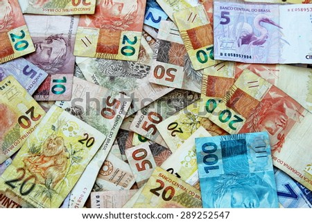 Brazil's currency notes in various denominations - stock photo