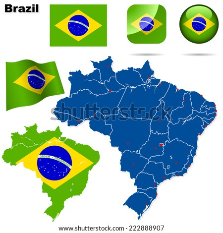 Brazil set. Detailed country shape with region borders, flags and icons isolated on white background. - stock photo