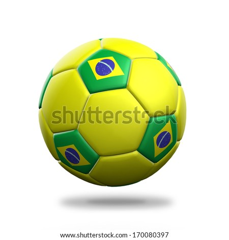 Brazil soccer ball isolated white background - stock photo