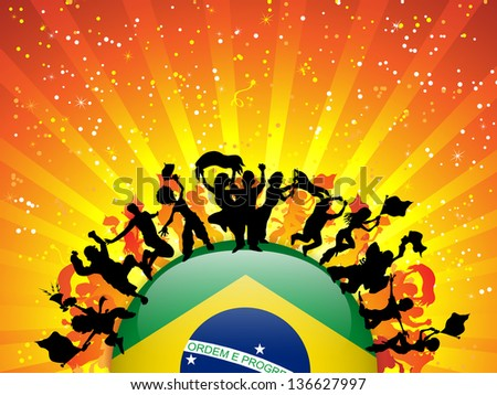 Brazil Sport Fan Crowd with Flag - stock photo