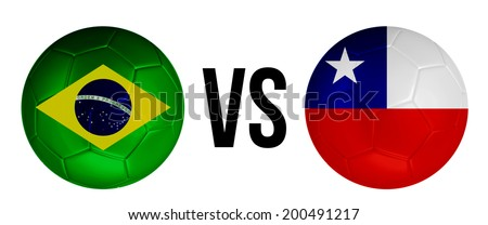Brazil VS Chile soccer ball concept isolated on white background - stock photo