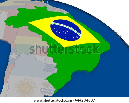Brazil with flag highlighted on model of globe. 3D illustration - stock photo
