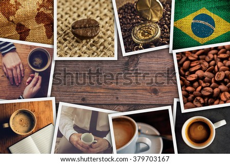 Brazilian coffee photo collage, stack of themed pictures on wooden cafe table as copy space. - stock photo