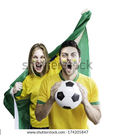 Brazilian couple celebrate on white background - stock photo