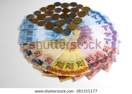 Brazilian fake money, bills and coins in a shape of a pizza.  - stock photo