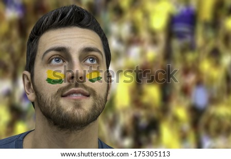 Brazilian fan painted the colors of Brazil on his face  - stock photo