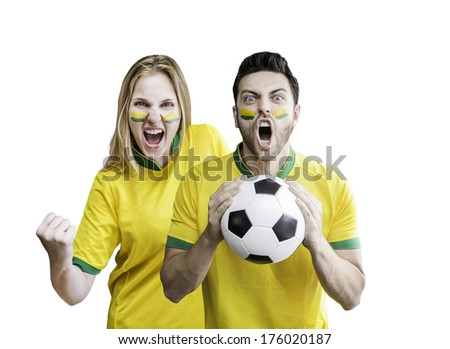 Brazilian fans celebrate on white background - stock photo