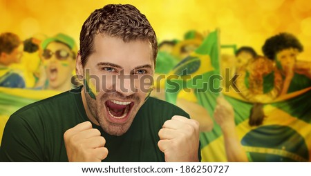Brazilian fans, soccer - stock photo