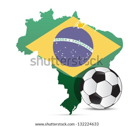 Brazilian flag map and soccer ball isolated over white background - stock photo