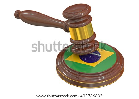 Brazilian flag with court hammer, 3D rendering - stock photo