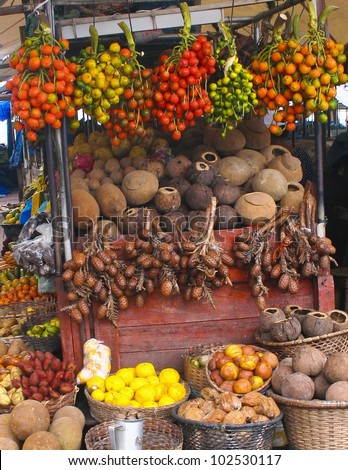 Brazilian Fruit market. Best for smaller scale. - stock photo